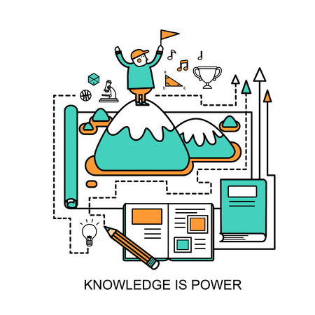 knowledge business: knowledge is power concept in flat line style