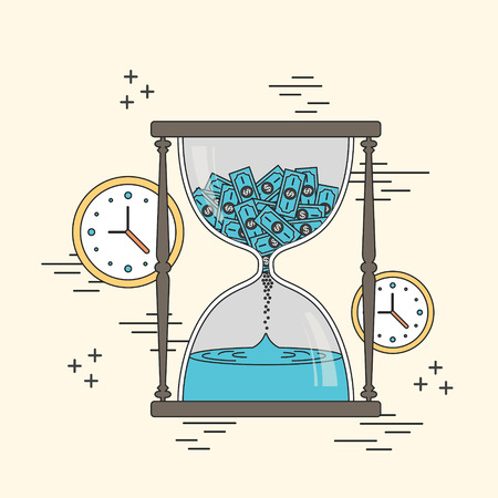 accumulation: time is money concept: hourglass and clocks elements in line style Illustration