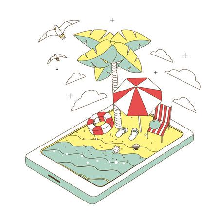 여름 레크리에이션 개념 얇은 선 스타일