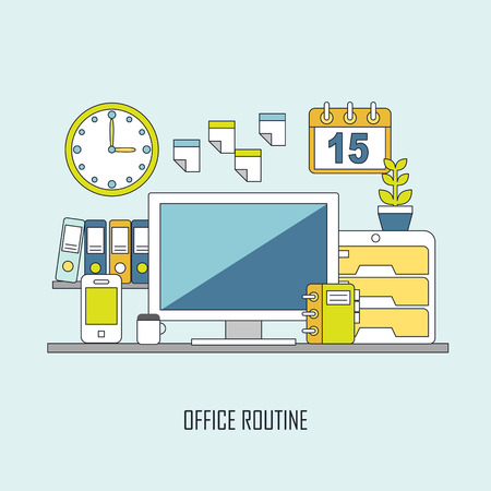 routine: routine office and business lifestyle in flat thin line style Illustration