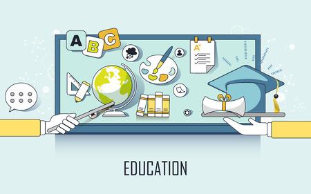 estudiantes universitarios: concepto de educación: elementos y casquillo de la graduación en estilo de línea de aprendizaje Vectores