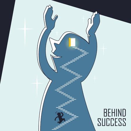 leadership development: behind success concept: a businessman keeps running up stairs in line style