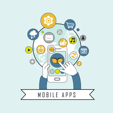mobile apps: mobile apps concept: apps flying out from the mobile in line style