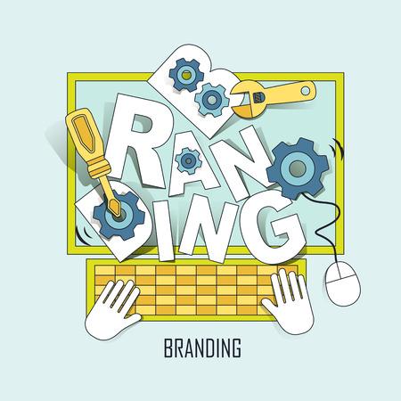 디지털 브랜딩 개념 : 선 스타일의 컴퓨터에서 밖으로 점프 브랜드 단어 일러스트