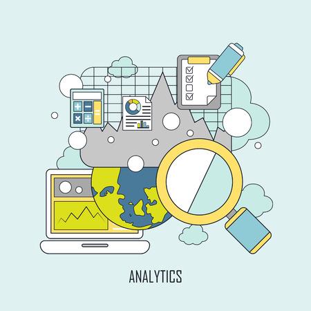 website data analytics concept in thin line style 向量圖像