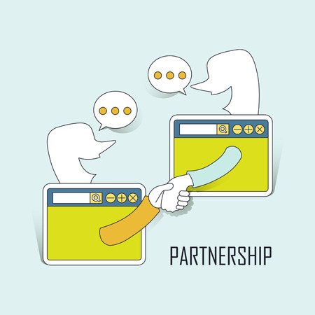 partnership concept: two businessmen shaking their hands through internet in line style
