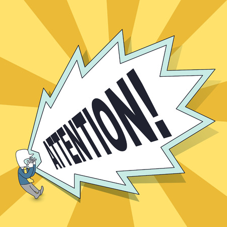 hazardous work: attention concept: a man yelling attention in line style Illustration