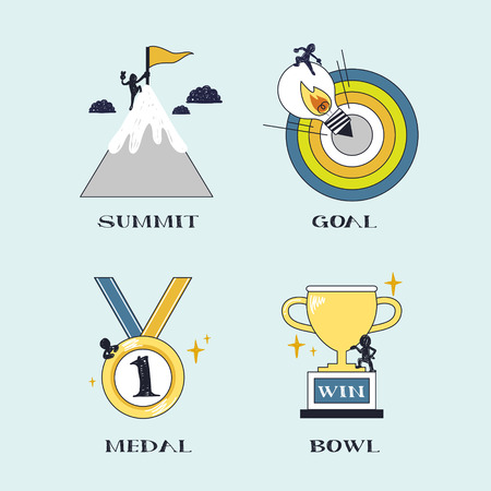 conquer: success concept: conquer challenging goal in line style
