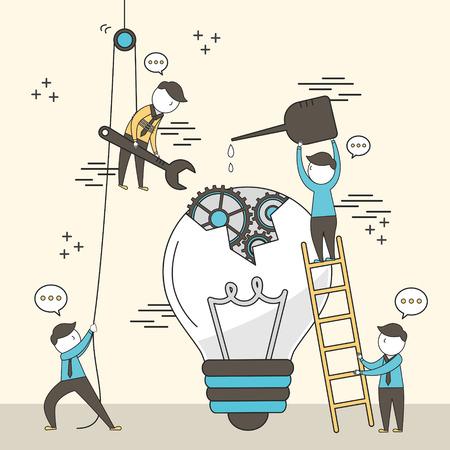 concept de travail d'équipe: la fixation d'un des hommes d'affaires ampoule cassée ensemble dans un style de ligne