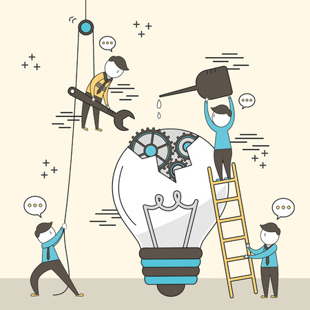 concept of teamwork: businessmen fixing a broken bulb together in line style Фото со стока - 41170490