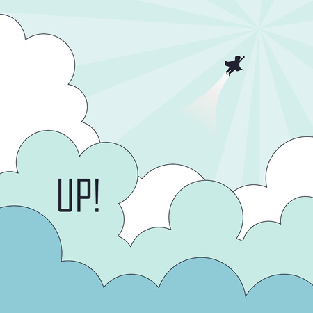 breakthrough: success concept: superhero flying to the sky in line