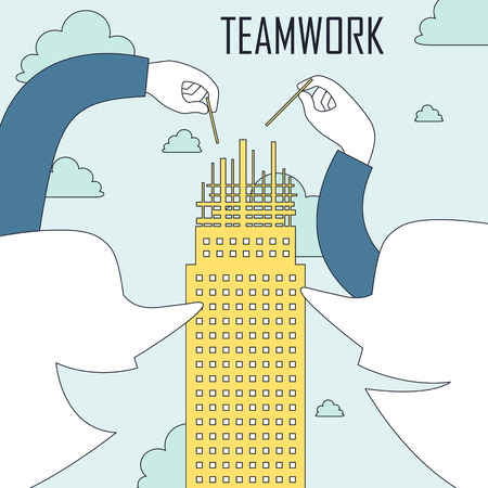 constructing: teamwork concept: two people constructing a building together in line style Illustration