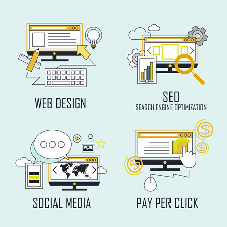 web optimization: branding concept: web design-SEO-social media- pay per click in line style