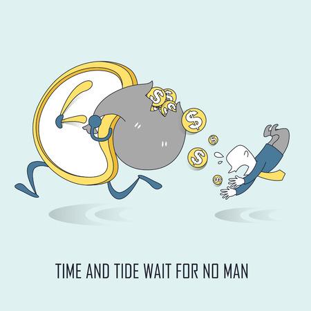 tide: espera el tiempo y la marea no concepto hombre en estilo de l�nea delgada