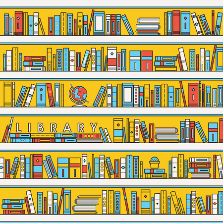 yellow pages: library scene illustration in flat line style Illustration