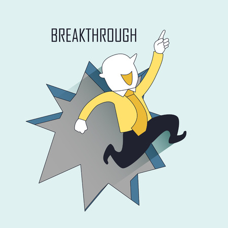 businessman jumping: breakthrough concept: a businessman jumping out from the wall in line style