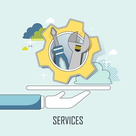 servicio al cliente: concepto de servicio al cliente: una mano herramientas en estilo de línea que sostiene Vectores