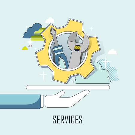 tools: customer service concept: a hand holding tools in line style Illustration