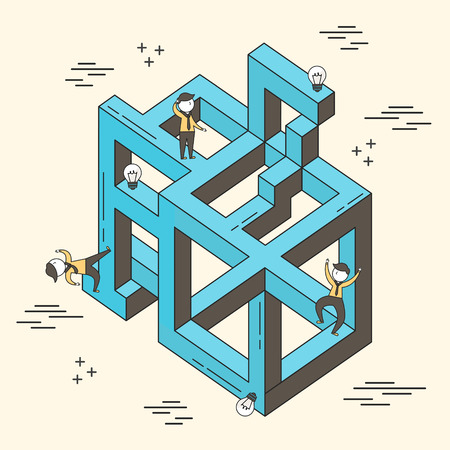 concept of confused: businessman stuck in a maze in line style