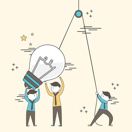 teamwerkconcept: zakenlieden die een grote verlichtingsbol opstellen in lijnstijl