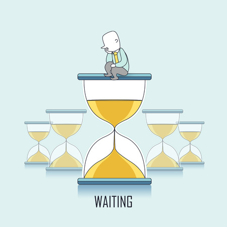 waiting line: waiting concept: businessman keeps waiting and sitting on a hourglass in line style Illustration