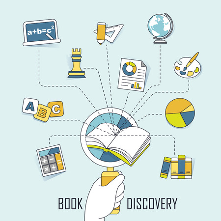knowledge concept: knowledge concept: discovery knowledge in the book in line style
