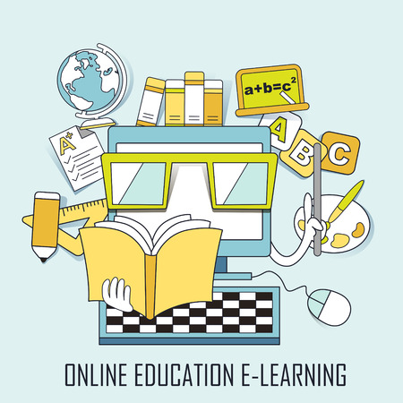 computer education: online education concept: learning elements and computer in line style