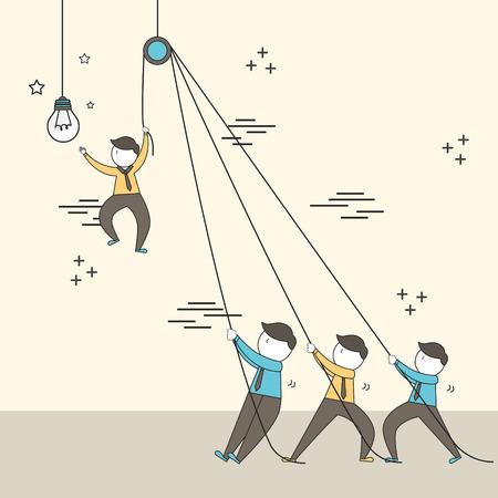 teamwork concept: businessmen setting up a big lighting bulb in line style Illustration