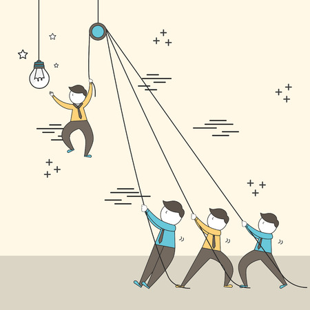 teamwork concept: businessmen setting up a big lighting bulb in line style Ilustracja