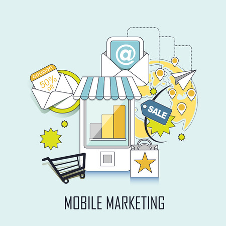 mobile marketing: mobile marketing concept: shopping related elements in line style
