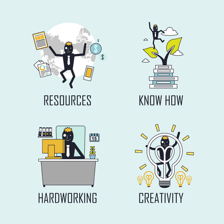 success concept: success concept: resources-know how-hard working-creativity in line style