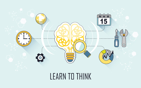 ingenuity: learn to think concept: brain and tools in line style Illustration