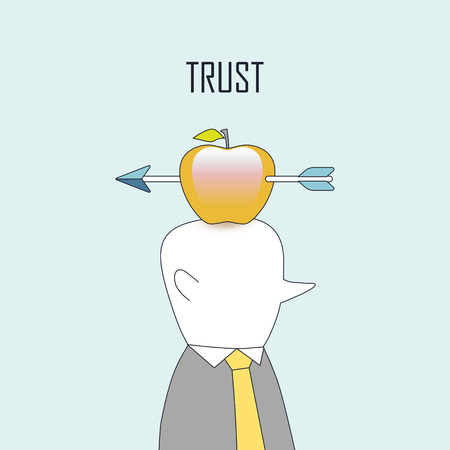 reliance: trust concept: an arrow shooting on apple in line style