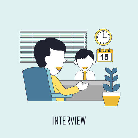 finding: finding job concept: interview in line style