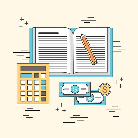 accounting concept: notebook and computer in line style Vector