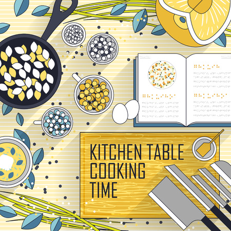 cooking time: variety cooking materials on kitchen table in line style Illustration