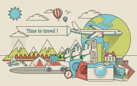 線のスタイルで世界中を旅行します。  イラスト・ベクター素材