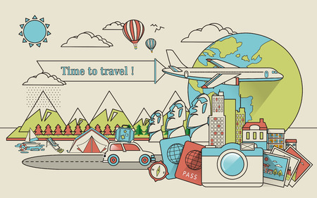 reizen rond de wereld in de rij stijl Stock Illustratie