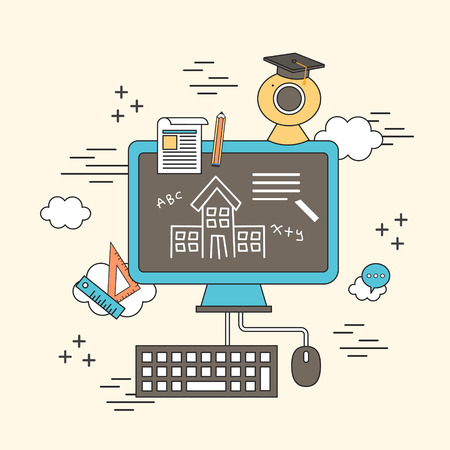 computer education: distance education concept: computer with education elements in line style