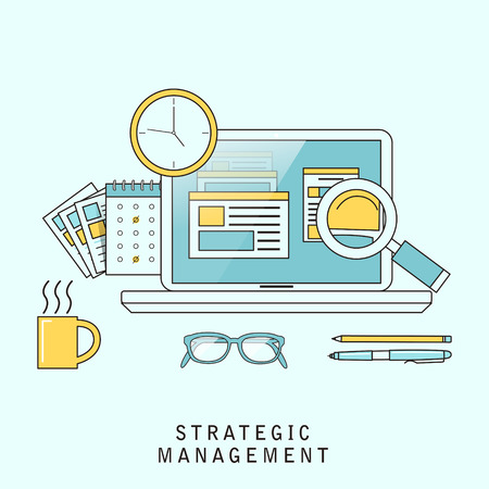 strategic management: strategic management concept in flat line style