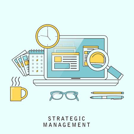management concept: strategic management concept in flat line style