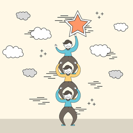 cooperation concept: businessman reaching a shining star in line style