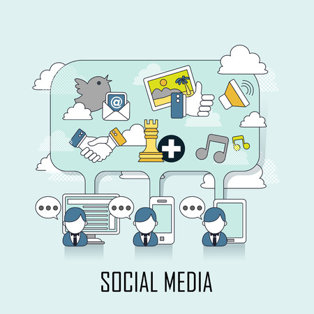social media concept: people chatting with different media in line style Illustration