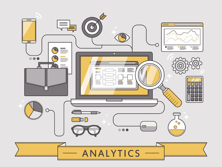 web banner: data analytics concept in thin line style Illustration