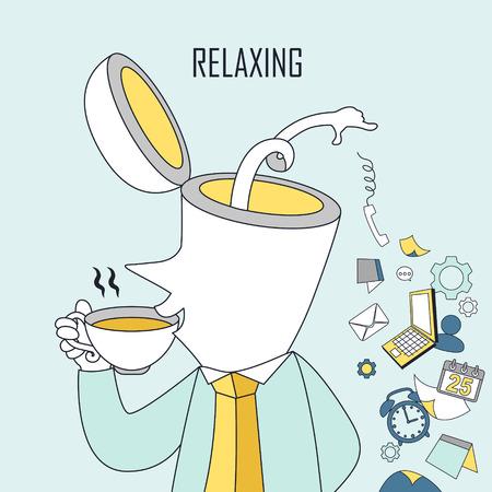 cansancio: concepto de relax: un hombre está bebiendo café en estilo de línea Vectores