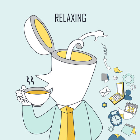 tiredness: relaxing concept: a man is drinking coffee in line style Illustration