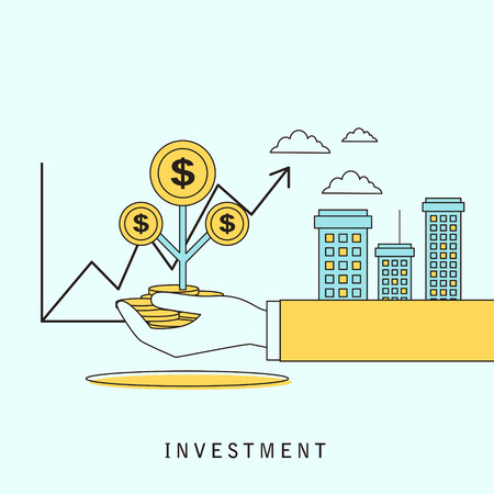 investment concept: investment concept: a hand holding money in flat line style