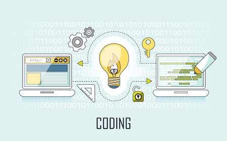lighting bulb: coding concept: lighting bulb and laptop in line style