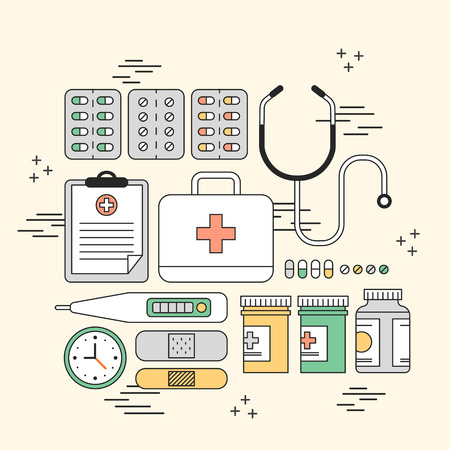 cure: lovely medication supplies concept in line style Illustration