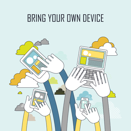 bring: technology concept: bring your own device in line style Illustration